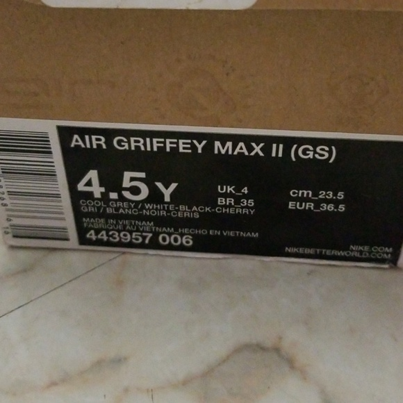 Nike Cool GreyWhiteBlack Box Air Griffey Max 2 Men's Grey